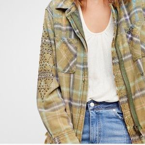 Free People Deconstructed Flannel Plaid Jacket NWT